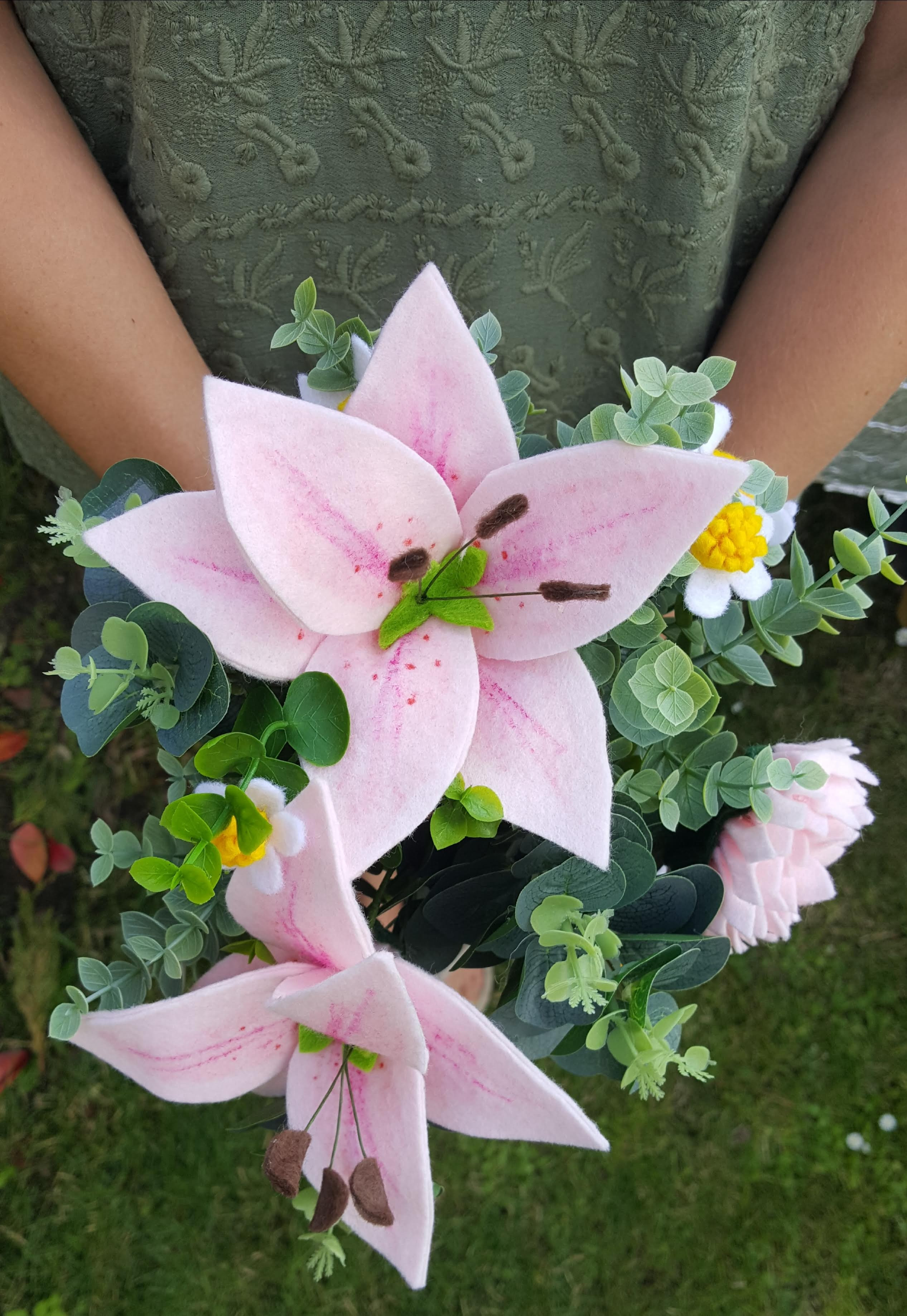 Pale Pink Felt Stargazer Lily Dahlia And Daisies In Glass Vase