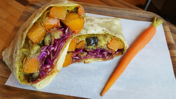 Vadouvan Roasted Eggplant, Butternut Squash with Red Cabbage Slaw and Tamarind Sauce