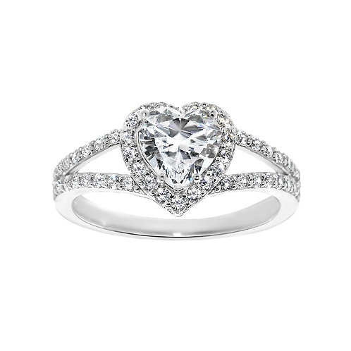 14k White Gold 1 3/8ct TGW Heart-cut Diamonette Engagement Ring