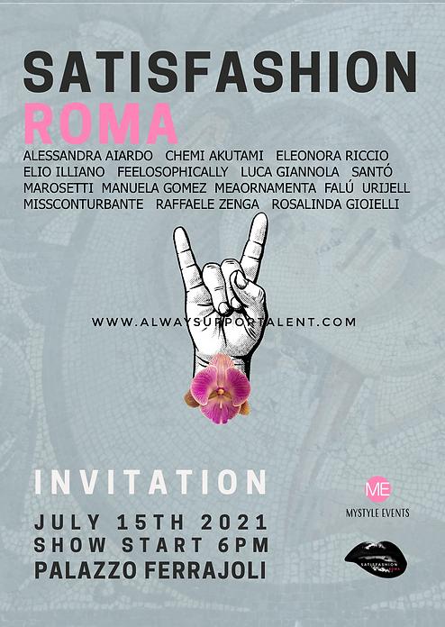 INVITATION satisfashion Roma 2021 alwaysupportalent Fashion Show