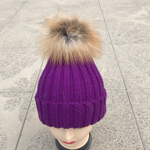 Purple Powder Puff Hat