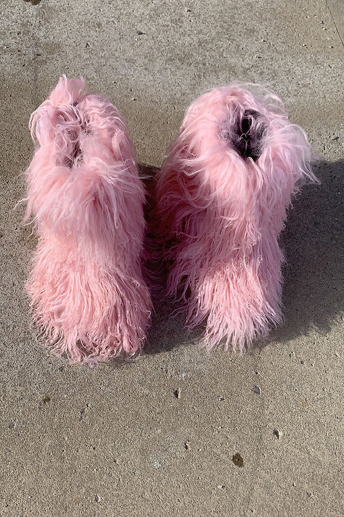 KIDS Pink Frosted Mongolian Boots