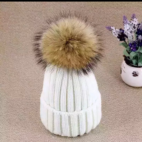 White Powder Puff Hat
