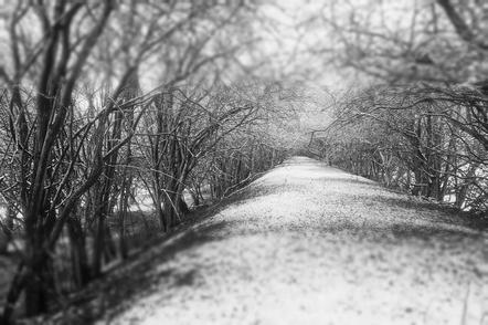 The old railway line in winter