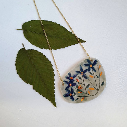 Blue flowers porcelain pendant with gold plated silver chain