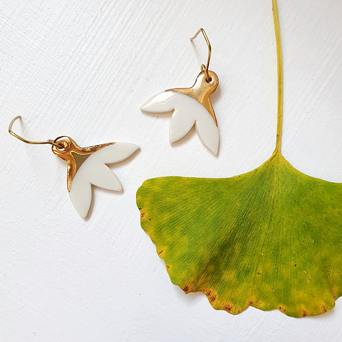 White magnolia flower porcelain earrings
