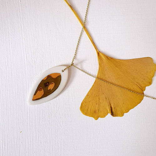 White porcelain leaf pendant with silver chain, big size