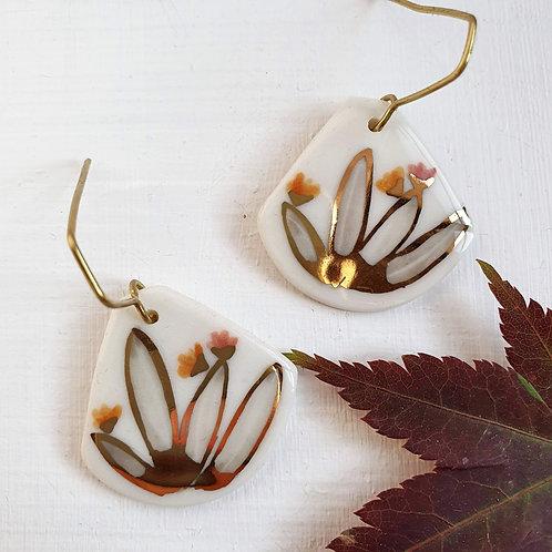 Succulent porcelain earrings
