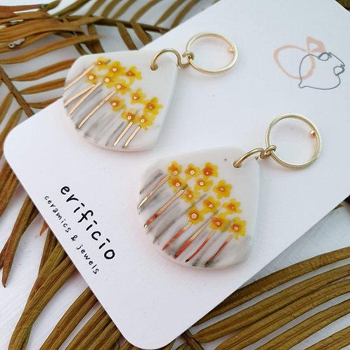Daffodils porcelain earrings