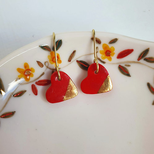 Red porcelain heart earrings, small size