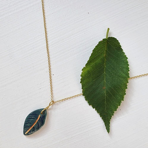 Forest green porcelain leaf pendant with silver chain, small size