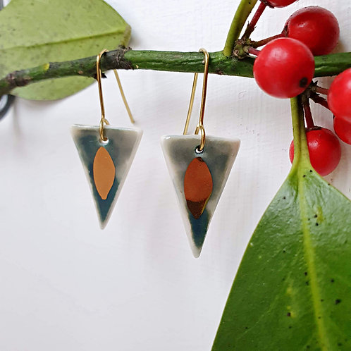 Green porcelain triangle earrings
