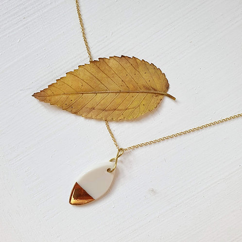 White porcelain leaf pendant with silver chain, small size