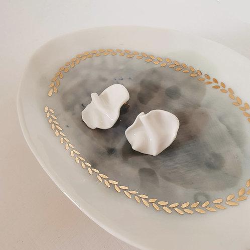 White petals, porcelain stud earrings
