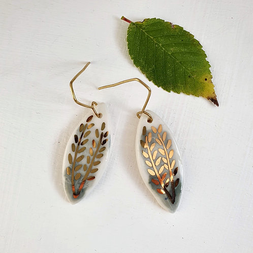 Light green porcelain earrings with branches, medium size