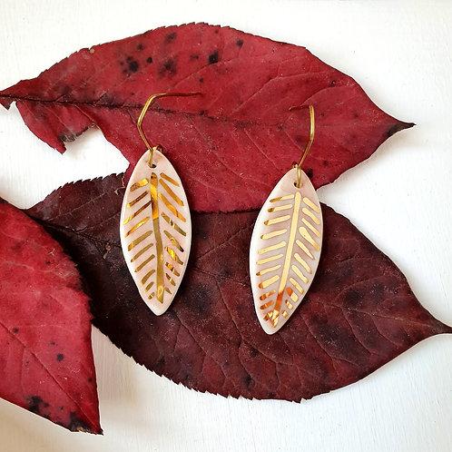 Light pink porcelain earring leaves, medium size