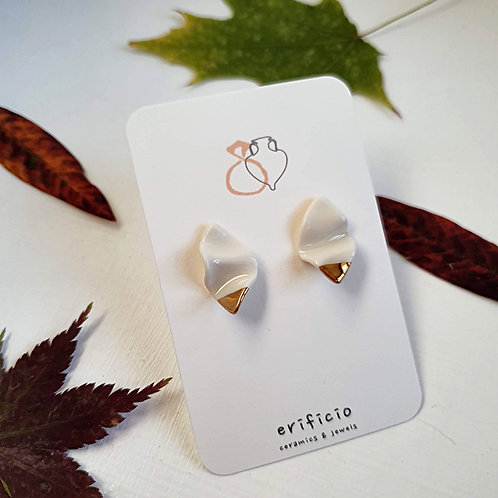 Small white and gold petals, porcelain stud earrings
