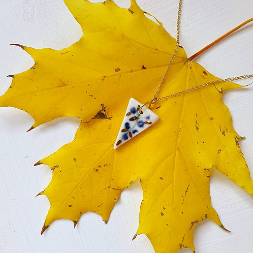 Blue jasmine porcelain triangle pendant with silver chain, small size