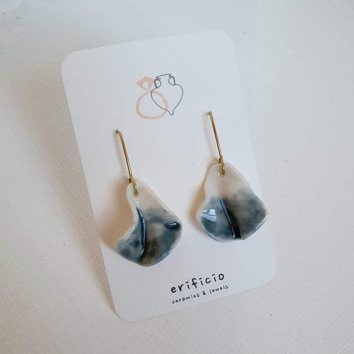 Teal blue petal, porcelain pendat earrings