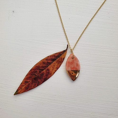 Many colors porcelain leaf pendant with silver chain, small size