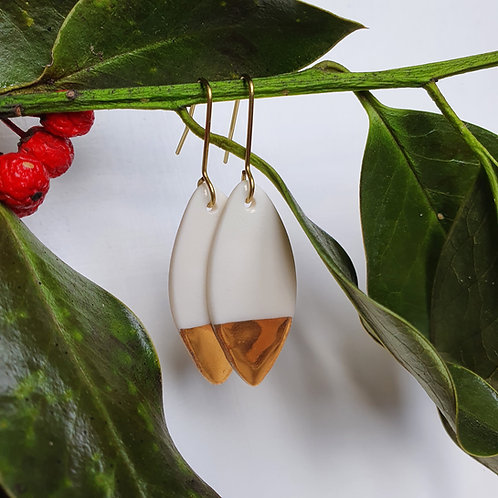 White porcelain earrings leaves, medium size