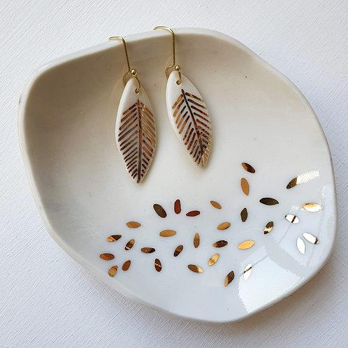 White porcelain earring leaves, medium size