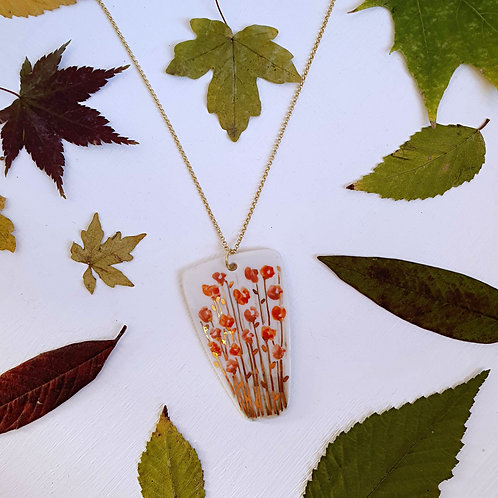 Pink and orange wild flowers porcelain pendant with gold plated silver chain