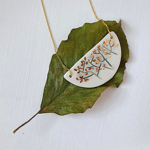 Porcelain pendant with tree, gold plated silver chain