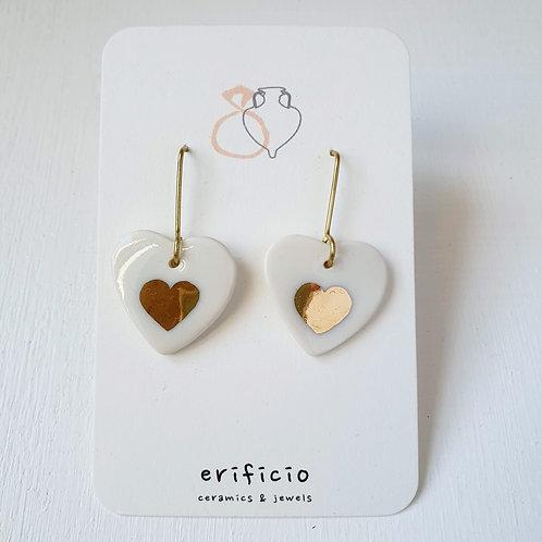 White porcelain heart earrings