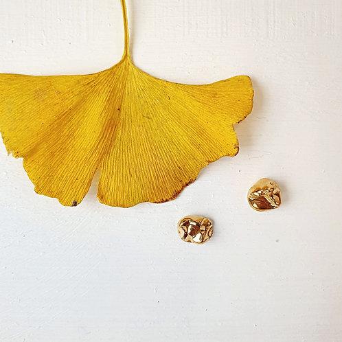Gold nuggets porcelain stud earrings