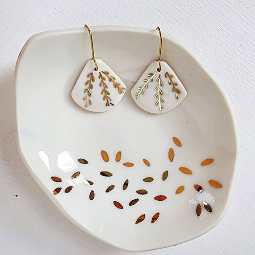 Porcelain earrings with branches