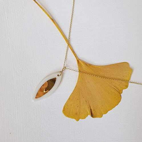White porcelain leaf pendant with silver chain, medium size