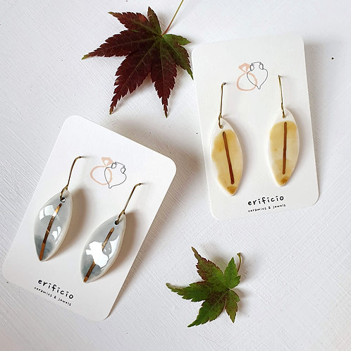 Aquarelle porcelain earrings leaves, medium size