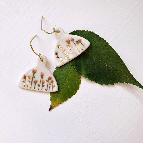 Wild pink flowers porcelain earrings