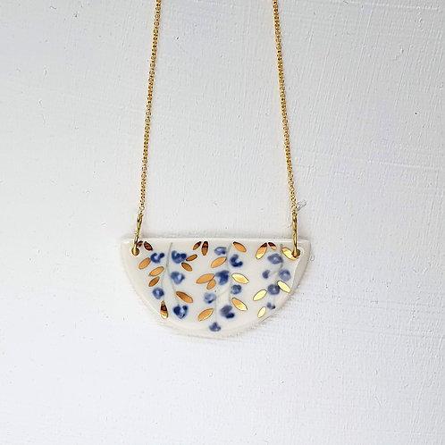 Blue jasmine pendant with gold plated silver chain