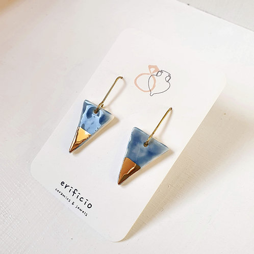 Blue porcelain triangle earrings