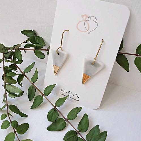 Sky blue porcelain triangle earrings