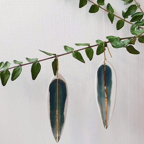 Porcelain long leaves earrings