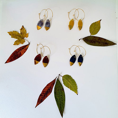 Many colors bangle earring leaves, small size
