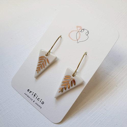 White porcelain earring triangles