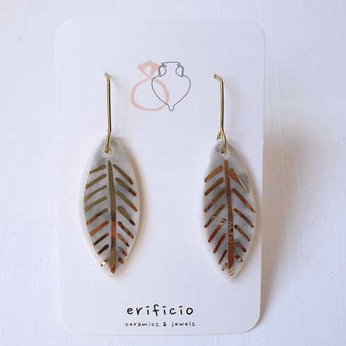 Sky blue porcelain earring leaves, medium size