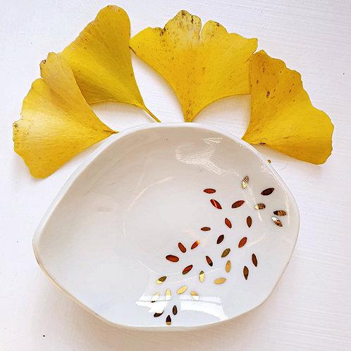 Golden leaves jewellery holder porcelain dish