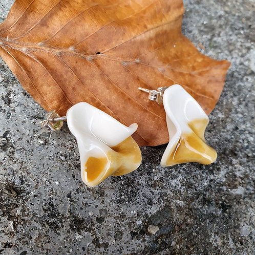 Yellow petals, porcelain stud earrings