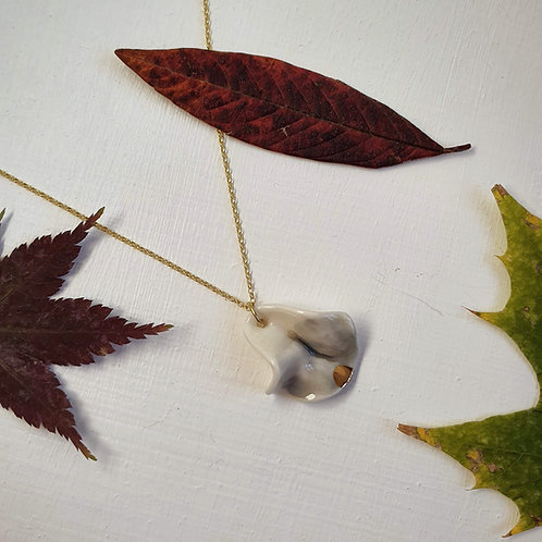 Pewter petal porcelain pendant with a glimpse of gold and gold silver c