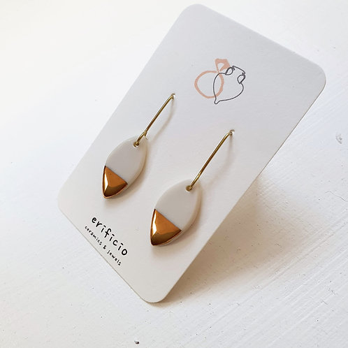 White porcelain earring leaves, small size