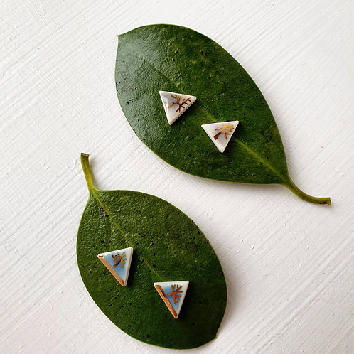Porcelain stud triangle earrings with tree