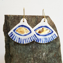 porcelain earrings with gold luster