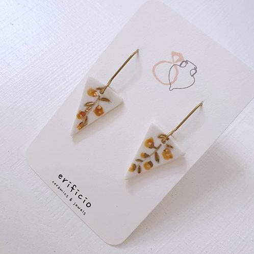 Acacia flower porcelain triangle earrings