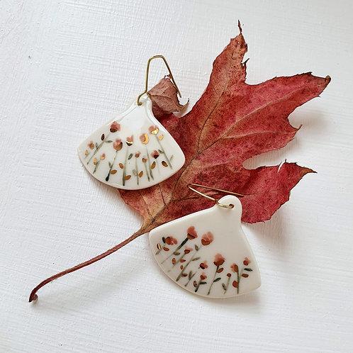 Antique pink wild roses porcelain earrings