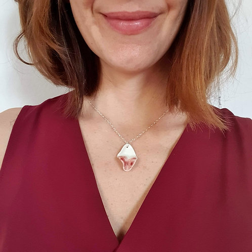 Pink petal pendant with sterling silver chain